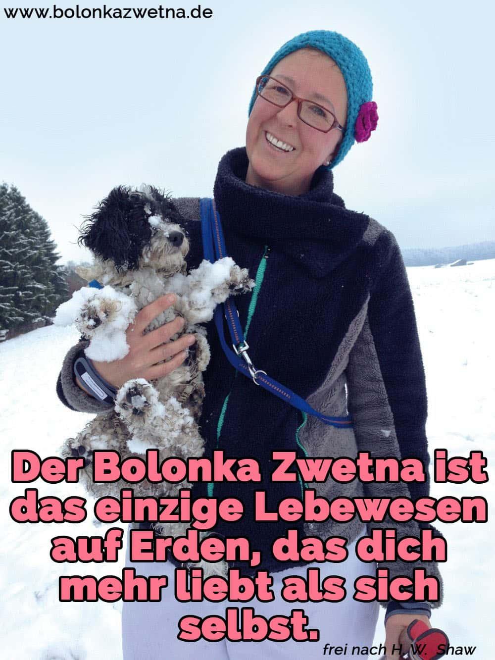 Eine Frau hält ihren Bolonka Zwetna im Schnee