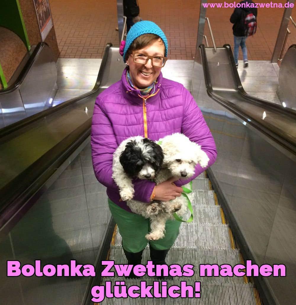 Eine Frau hält ihren Bolonka Zwetna in Rolltreppe
